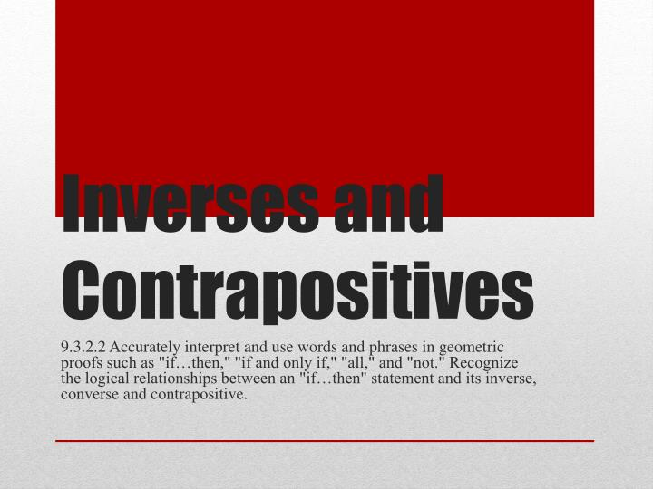 inverses and contrapositives