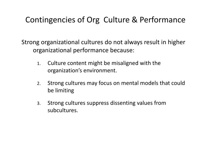 Contingencies of Org  Culture & Performance