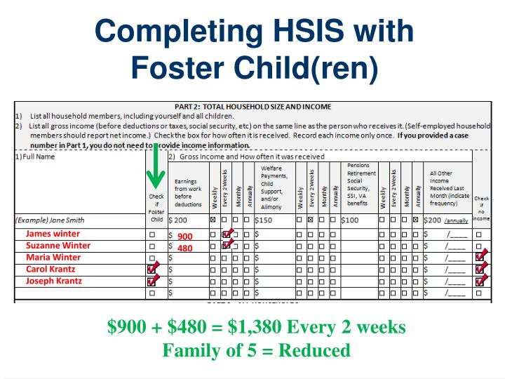 Completing HSIS with Foster Child(