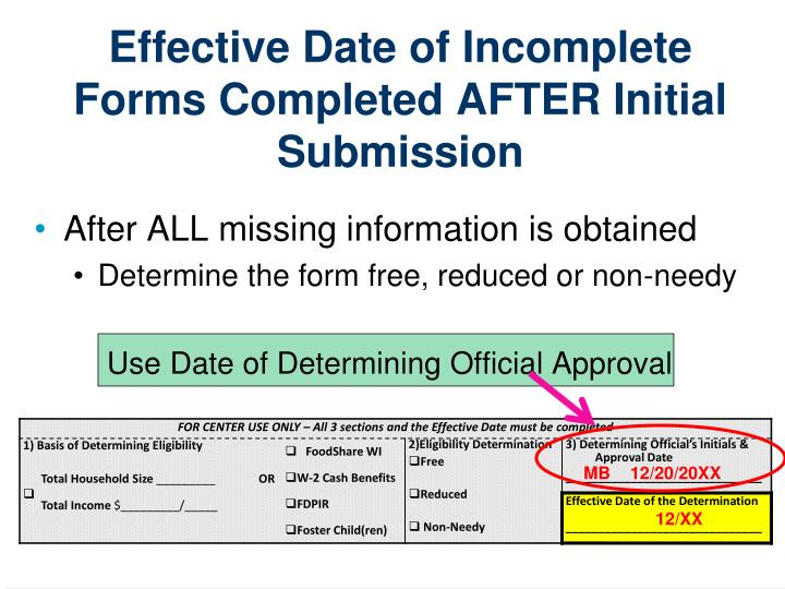 Effective Date of Incomplete Forms Completed AFTER Initial Submission
