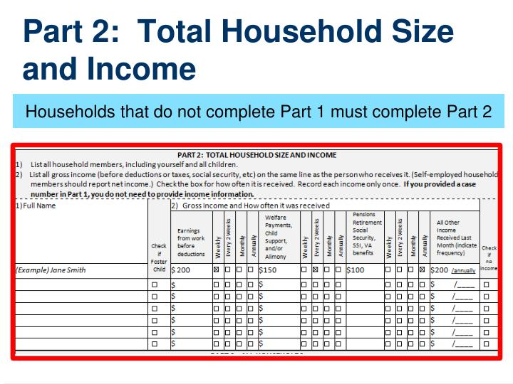Part 2:  Total Household Size and Income