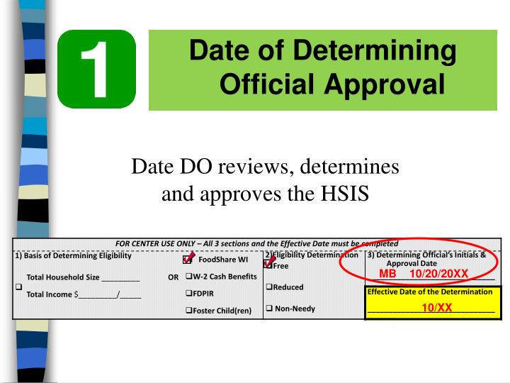 Date of Determining Official Approval