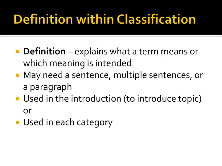 Definition within classification