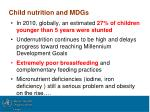 child nutrition and mdgs