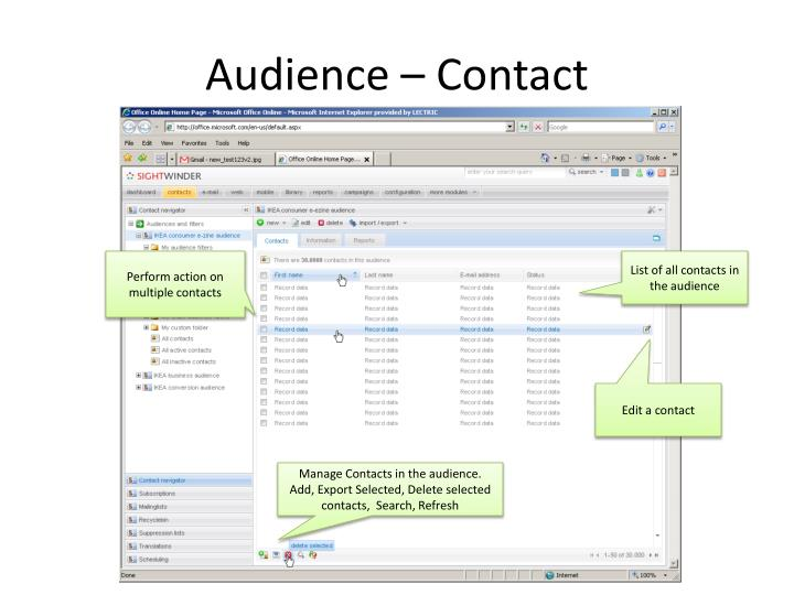 Audience – Contact