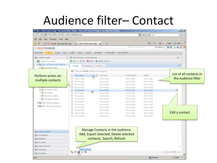 Audience filter– Contact