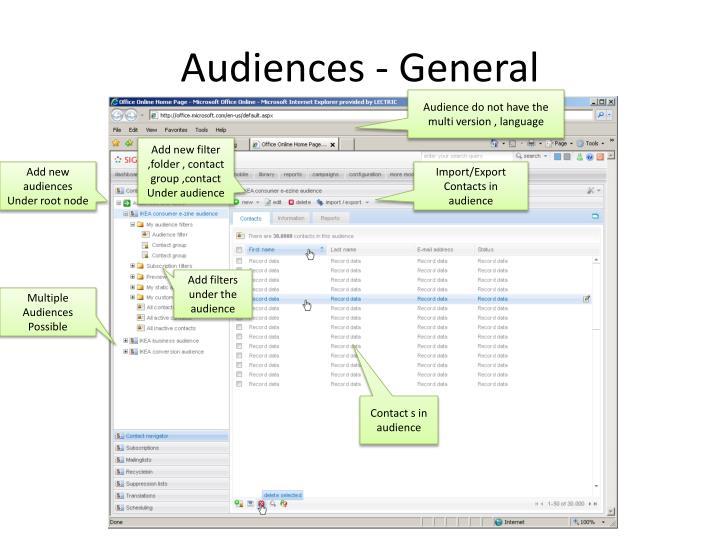 Audiences - General