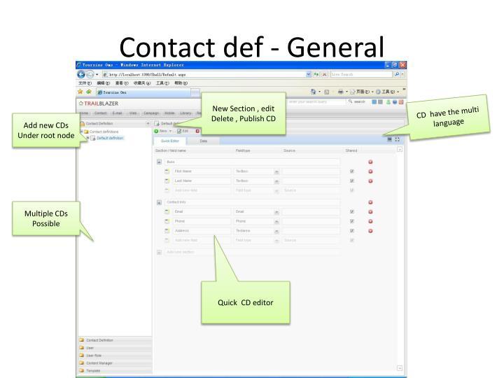 Contact def - General