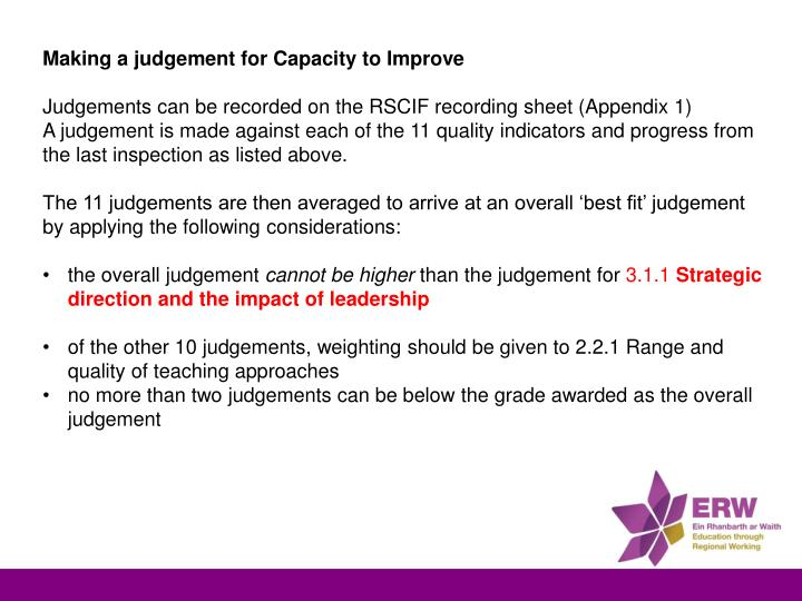 Making a judgement for Capacity to Improve