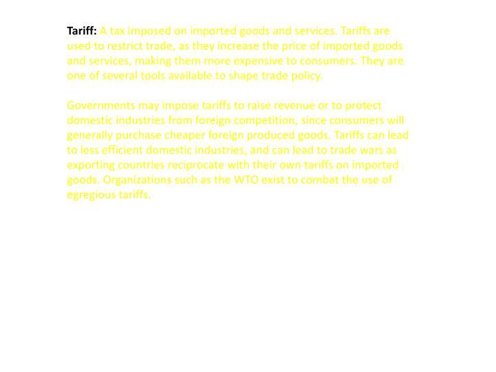 Tariff: