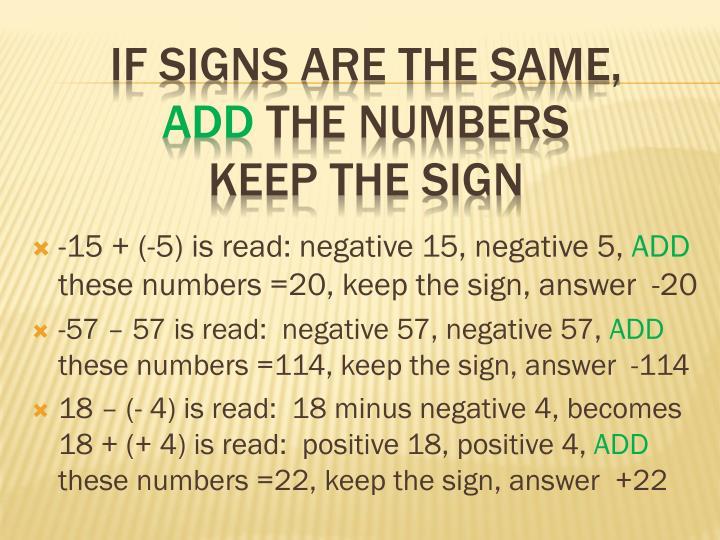 -15 + (-5) is read: negative 15, negative 5,