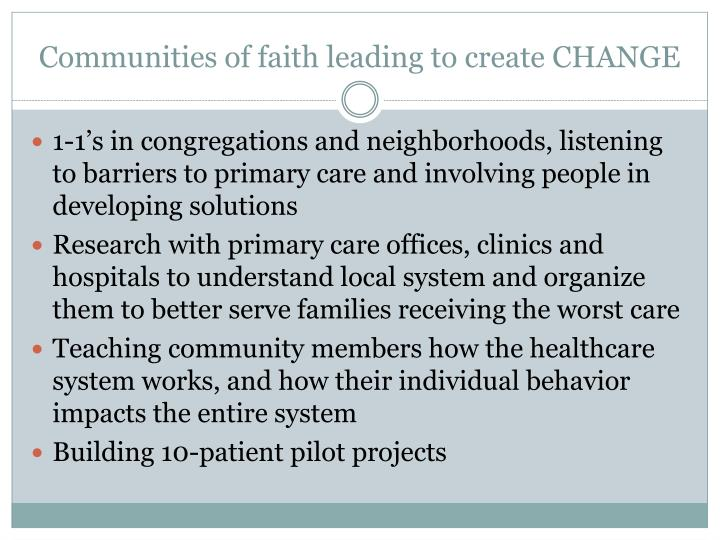 Communities of faith leading to create CHANGE