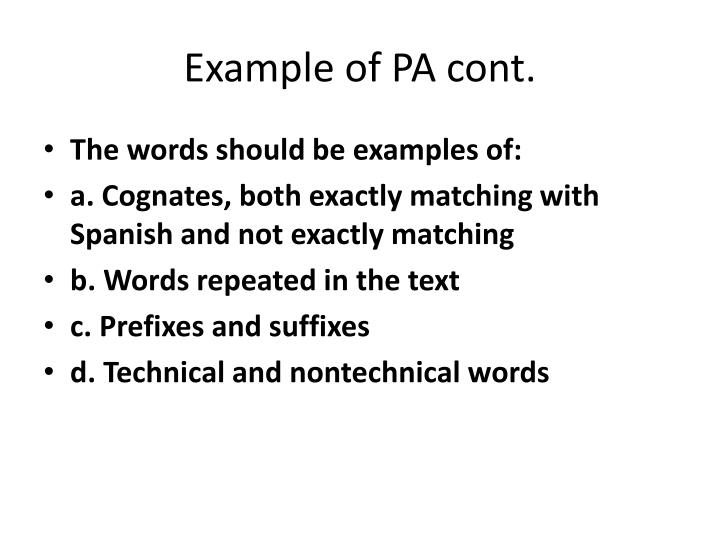 Example of PA cont.