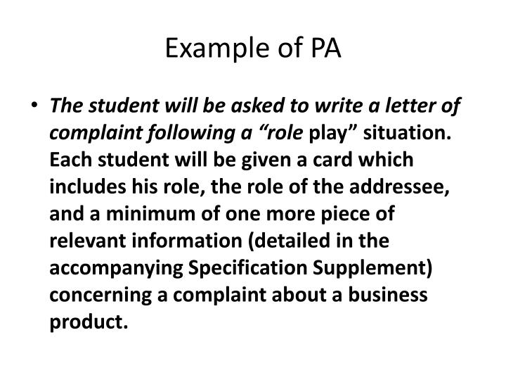 Example of PA