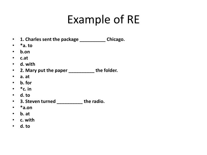 Example of RE