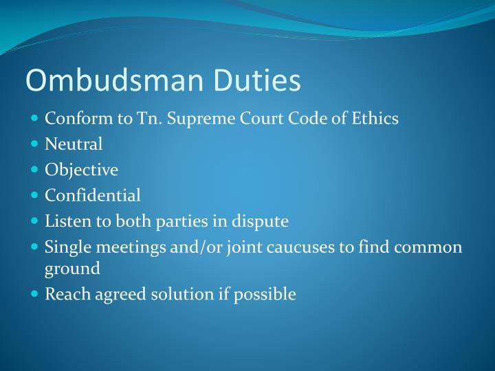 Ombudsman Duties
