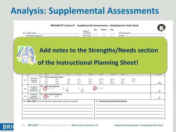 Analysis: Supplemental Assessments