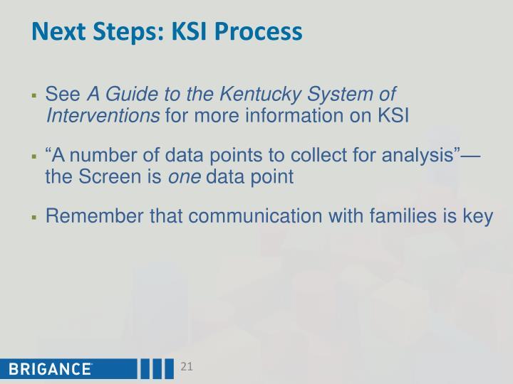 Next Steps: KSI Process