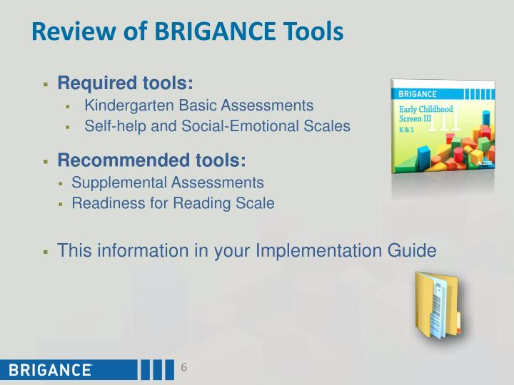 Review of BRIGANCE Tools