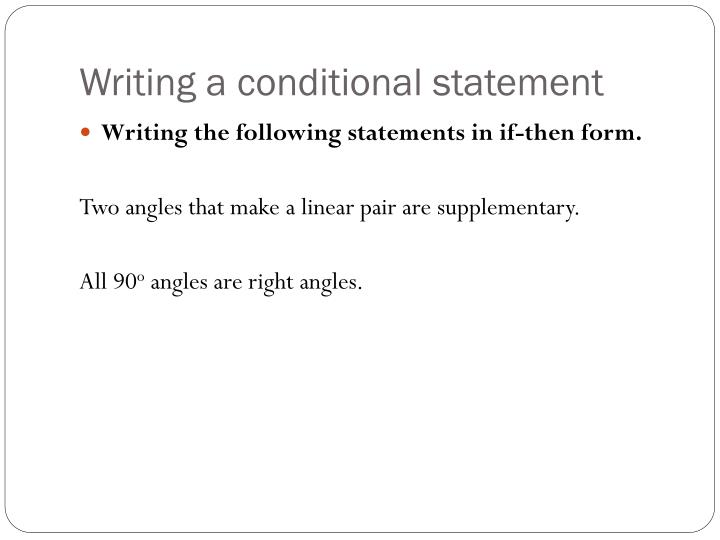 Writing a conditional statement