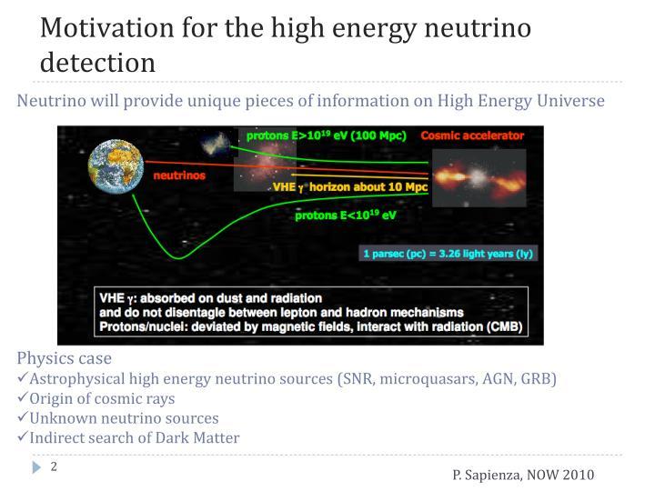 Motivation for the high energy neutrino detection