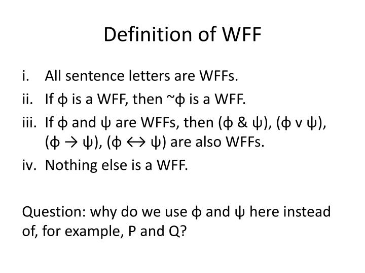 Definition of WFF