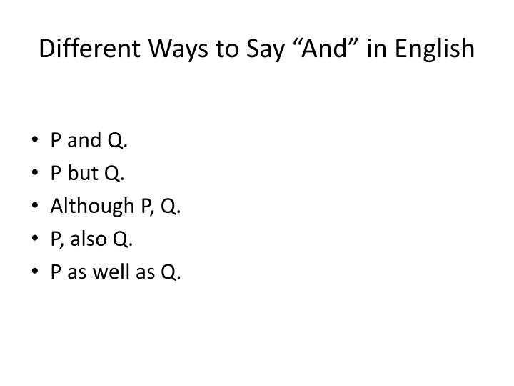 "Different Ways to Say ""And"" in English"