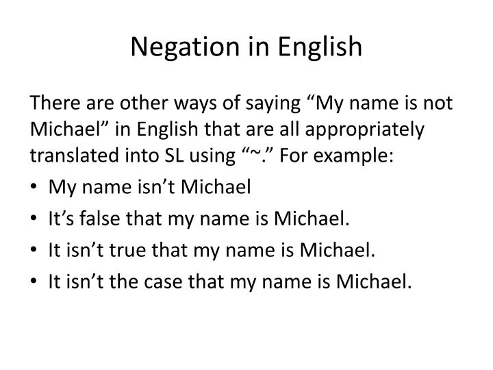 Negation in English