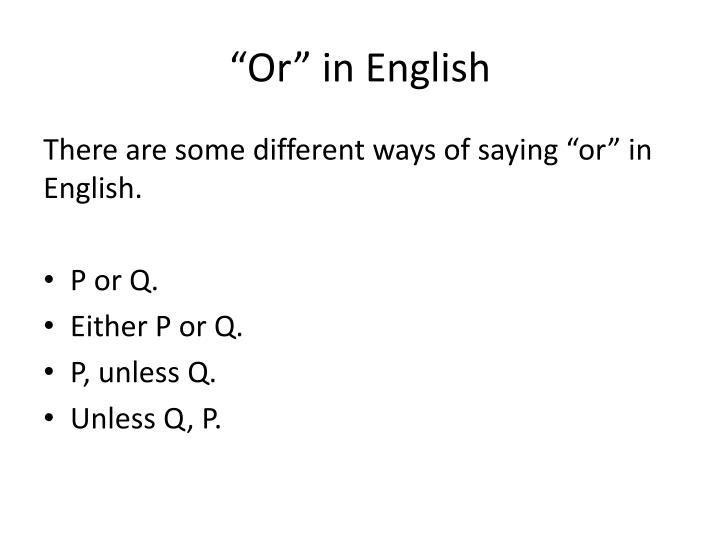 """Or"" in English"