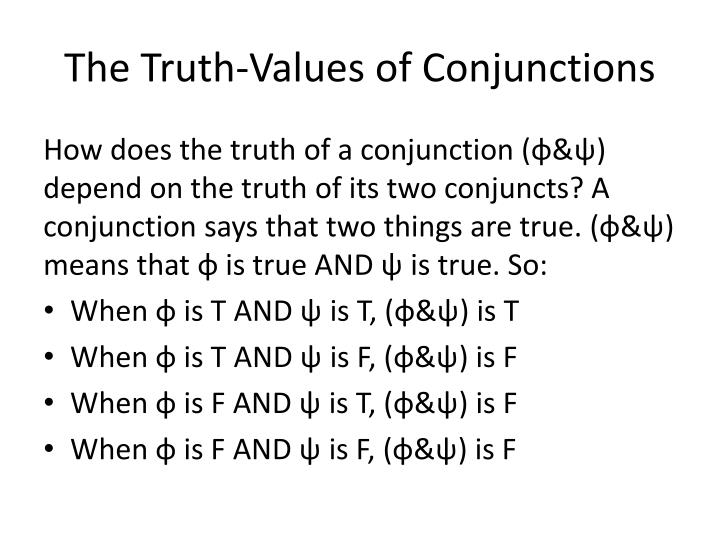 The Truth-Values of Conjunctions