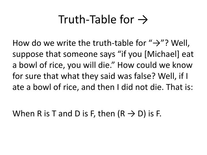 Truth-Table for →