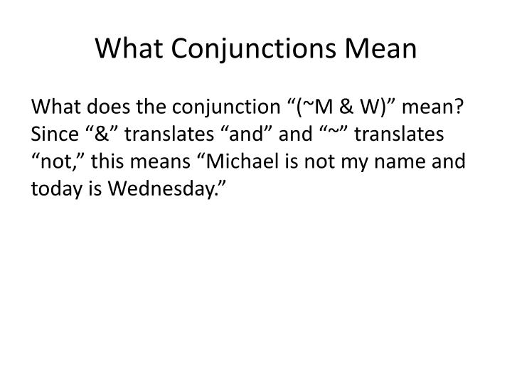 What Conjunctions Mean