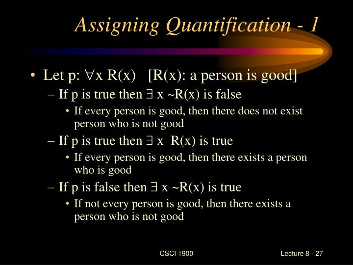 Assigning Quantification - 1