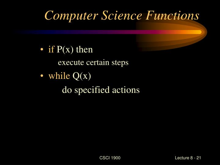 Computer Science Functions