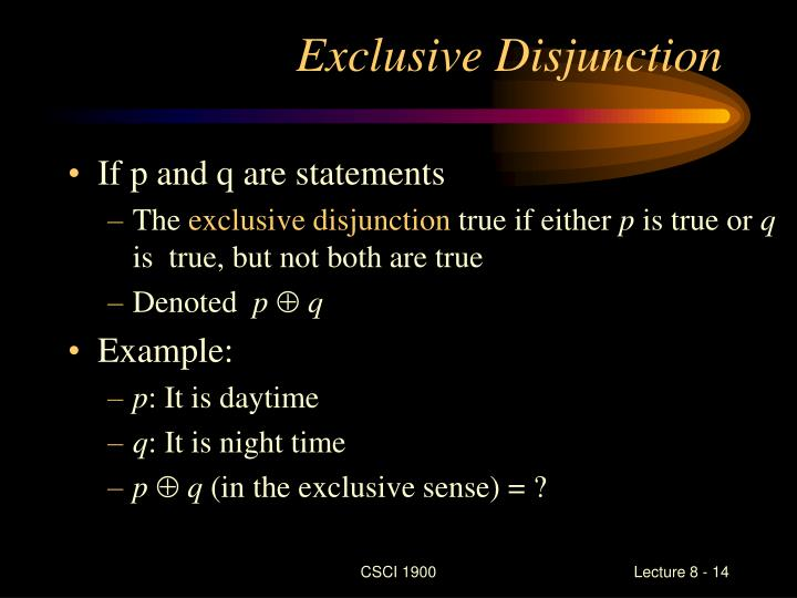 Exclusive Disjunction
