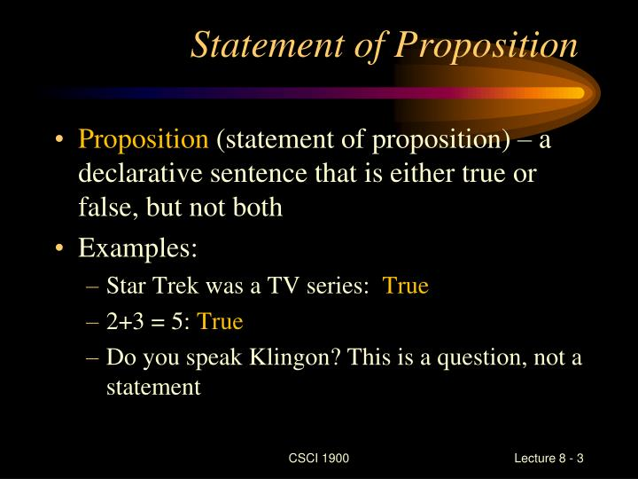Statement of proposition