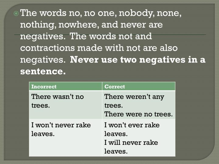 The words no, no one, nobody, none, nothing, nowhere, and never are negatives.  The words not and contractions made with not are also negatives.