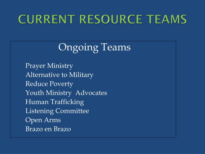 CURRENT RESOURCE TEAMS