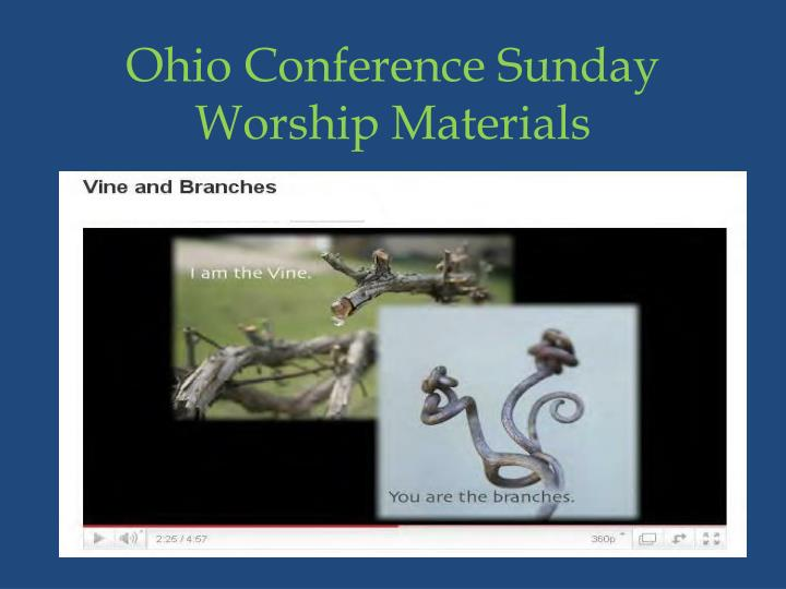 Ohio Conference Sunday Worship Materials