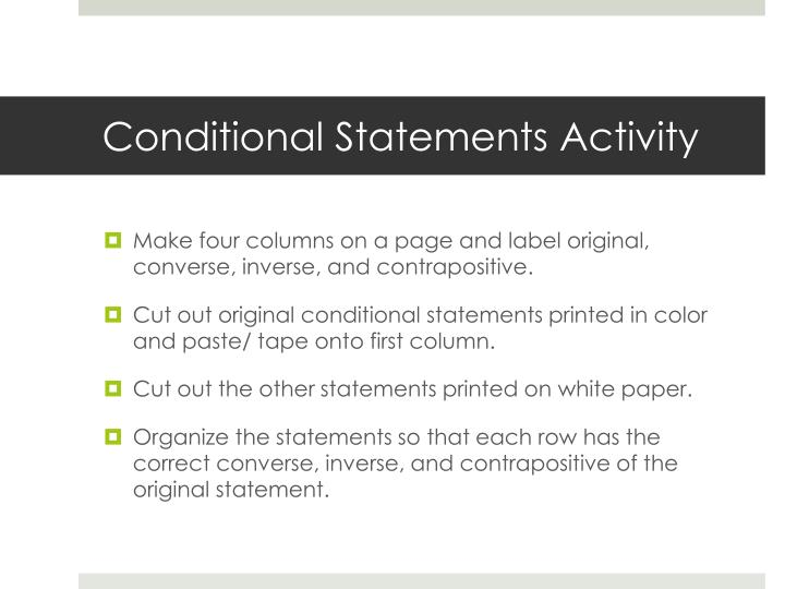Conditional Statements Activity