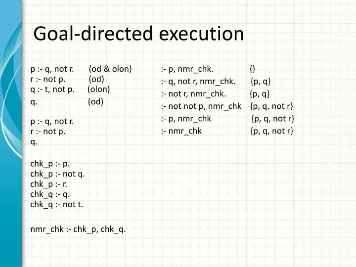 Goal-directed execution