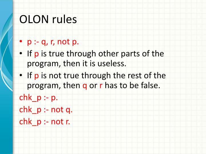 OLON rules