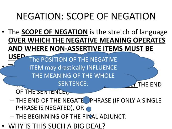 NEGATION: SCOPE OF NEGATION