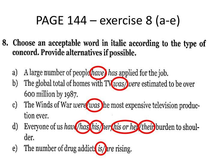 PAGE 144 – exercise 8 (a-e)