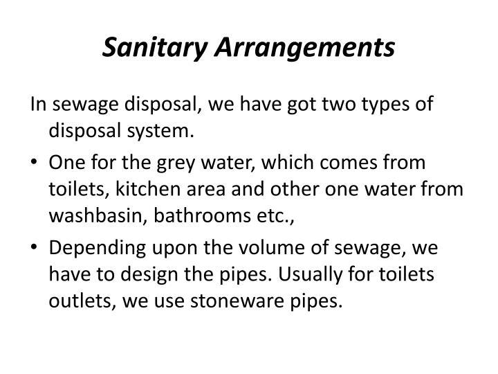 Sanitary Arrangements