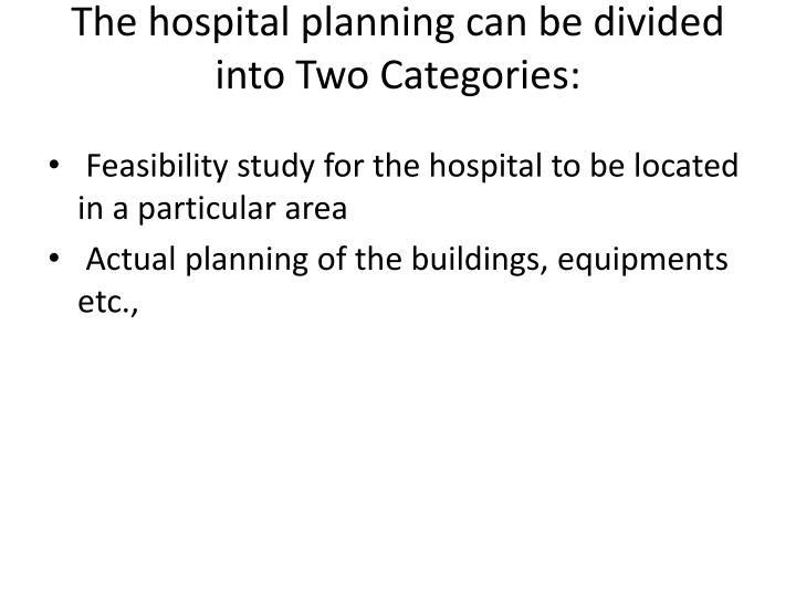 The hospital planning can be divided into Two Categories: