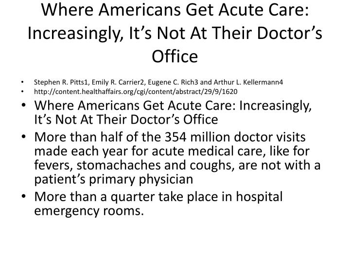 Where Americans Get Acute Care: Increasingly, It's Not At Their Doctor's Office