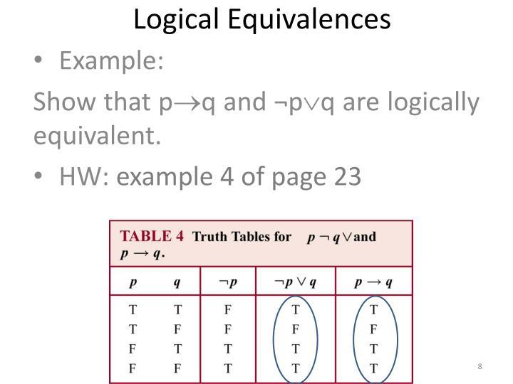 Logical Equivalences