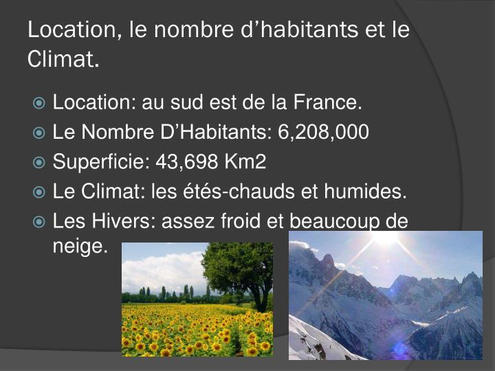 Location, le nombre d'habitants et le Climat.