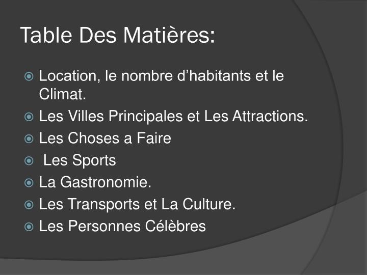 Table Des Matières: